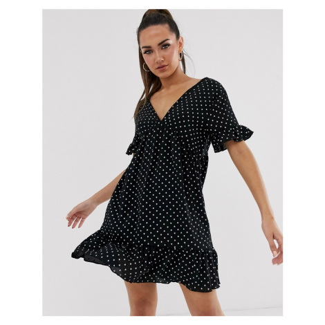 Boohoo smock dress with frill detail in black heart print