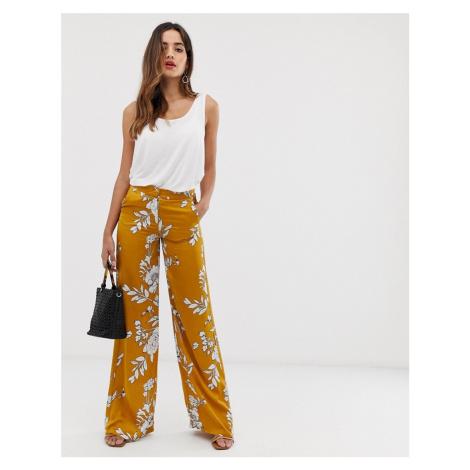 Morgan wide leg palazzo trouser in mustard floral print