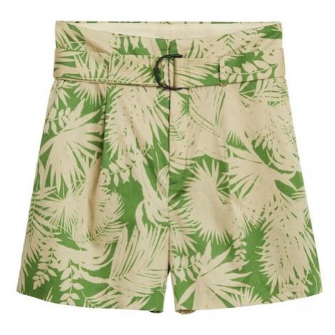 MANGO Spodnie 'Kai' zielony / beżowy