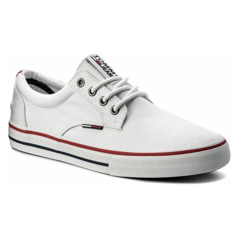 Tenisówki TOMMY JEANS - Textile Sneaker EM0EM00001 White 100 Tommy Hilfiger