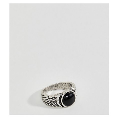 Reclaimed Vintage feather ring in burnished silver with stone