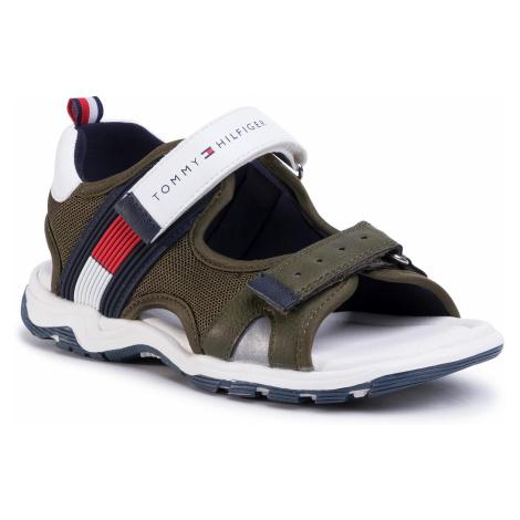 Sandały TOMMY HILFIGER - Velcro Sandal T3B2-30740-0937 M Military Green/White X490