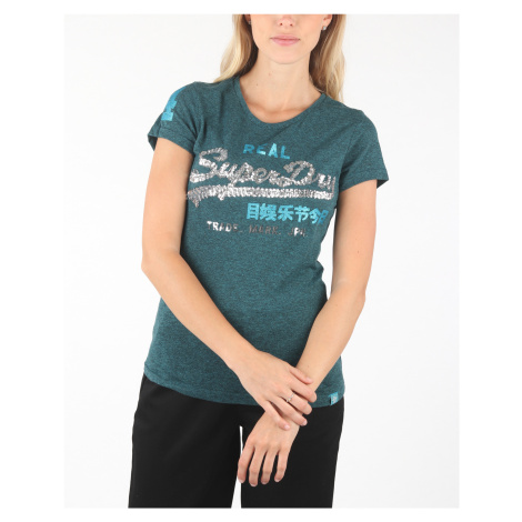 SuperDry Koszulka Niebieski Zielony