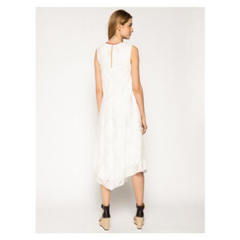 Manila Grace Sukienka letnia A044CR Biały Regular Fit