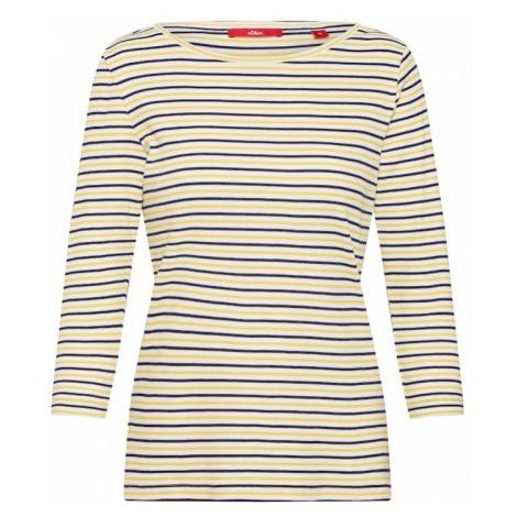 S.Oliver RED LABEL Koszulka 'Ringelshirt' granatowy / pastelowo-żółty / biały