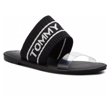 Klapki TOMMY JEANS - Knit Tommy Jeans Flat Sandal EN0EN00533 Black 990 Tommy Hilfiger