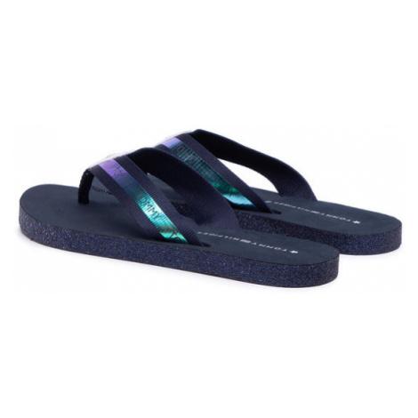 Tommy Hilfiger Japonki Flat Beach Sandal Iridescent FW0FW05125 Granatowy