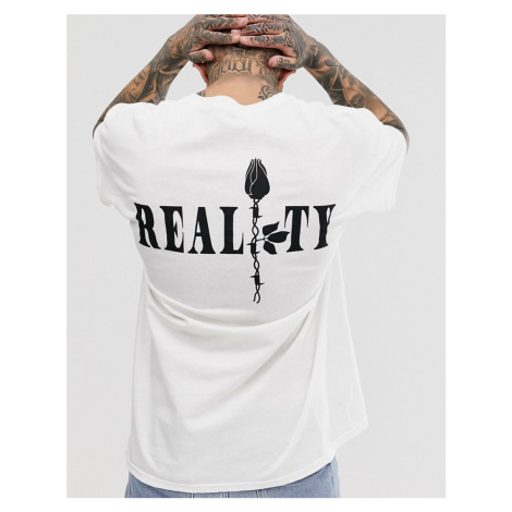 BoohooMAN reality rose front and back print oversized t-shirt in white