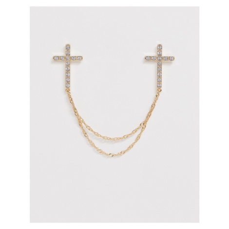 ASOS DESIGN collar tips with crosses and crystals in gold tone