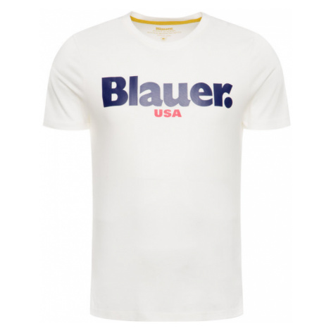 Blauer T-Shirt 19WBLUH02231 005568 Biały Regular Fit