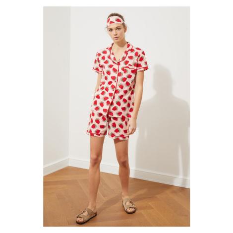 Trendyol Pink Printed Knitted Pyjama Set