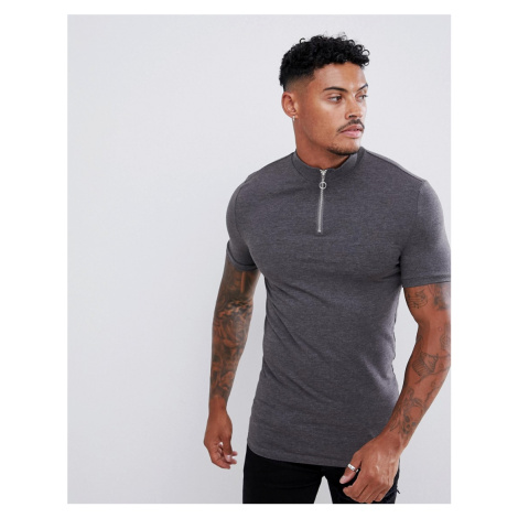 ASOS DESIGN muscle fit zip turtle neck t-shirt with stretch in grey