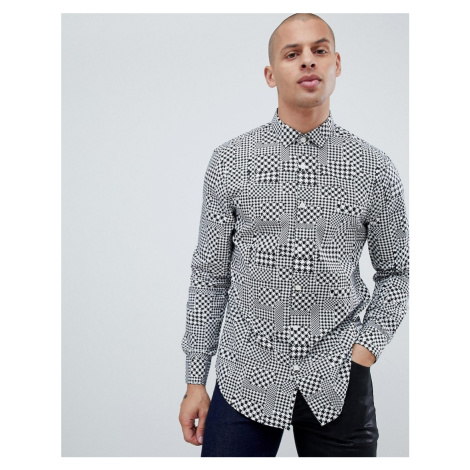 Armani Exchange houndstooth geo print shirt in black/white
