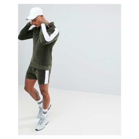 ASOS DESIGN tracksuit muscle hoodie/skinny shorts in velour with side stripes