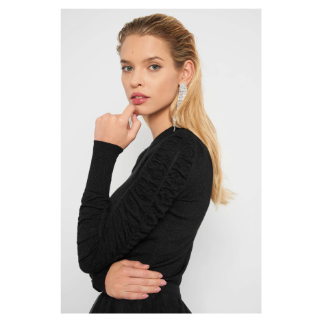 Sweter z drapowanymi rękawami Orsay