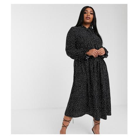 Boohoo Plus high neck midi dress with neck tie in black polka dot