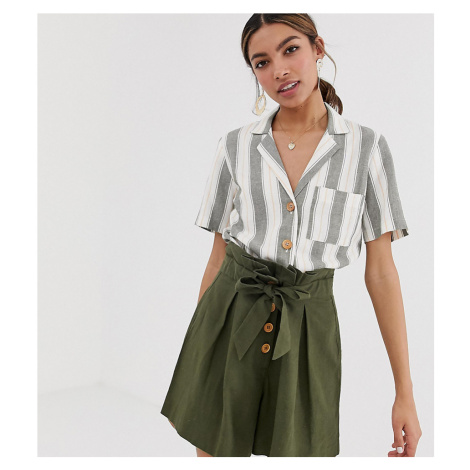 Miss Selfridge linen boxy shirt with pocket in stripe