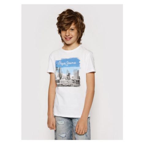 Pepe Jeans T-Shirt Joel PB503147 Biały Regular Fit