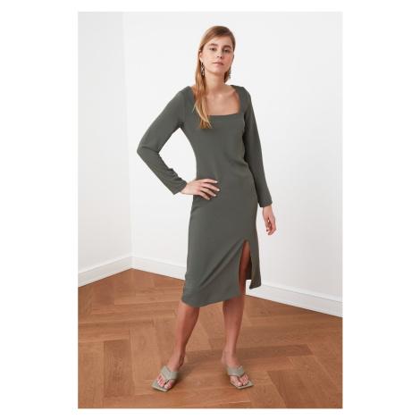 Trendyol Green Square Collar Sleath Detail Dress