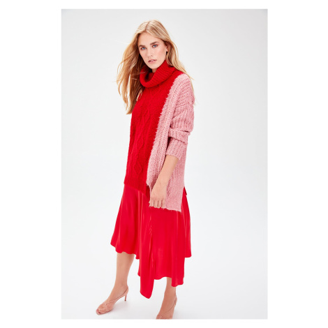 Trendyol Red Color and Knitwear Sweater with Mesh Block