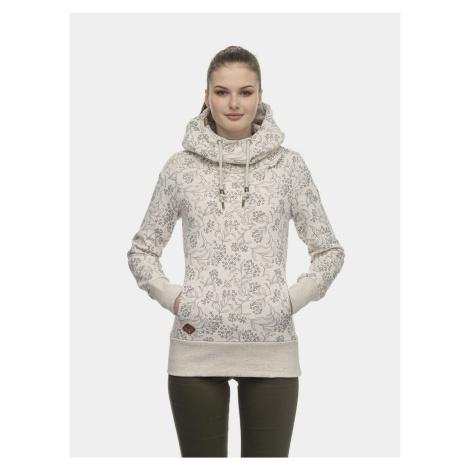 Kremowa damska bluza z kapturem w kwiaty Ragwear