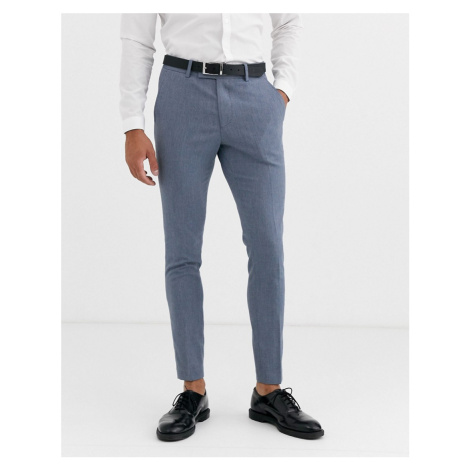ASOS DESIGN wedding super skinny suit trousers in blue marl micro texture
