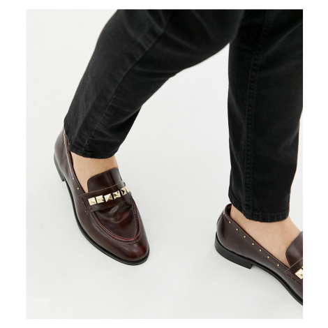 House Of Hounds Wide Fit Rex stud loafers in burgundy