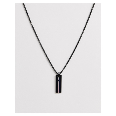 Tommy Hilfiger neck chain with branded pendant in black