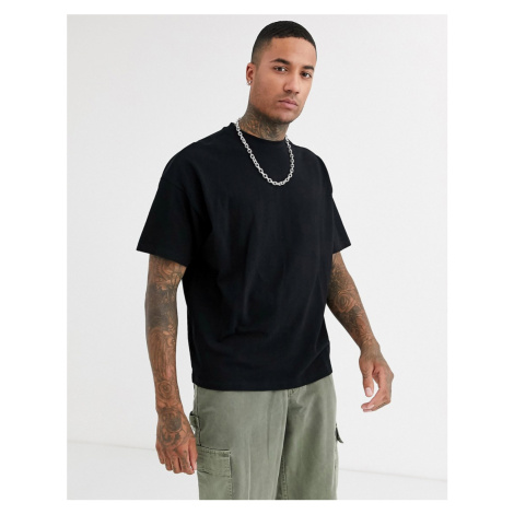 ASOS DESIGN organic oversized fit t-shirt with crew neck in pique in black