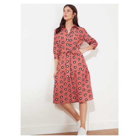 Trendyol różowy kwiecista koszulowa sukienka