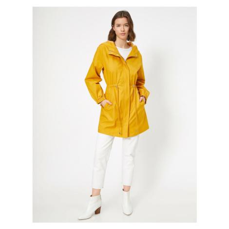 Koton Women's Yellow Waist Adjustable Hooded Trench Coat
