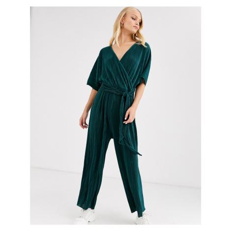 ASOS DESIGN plisse wrap tie jumpsuit