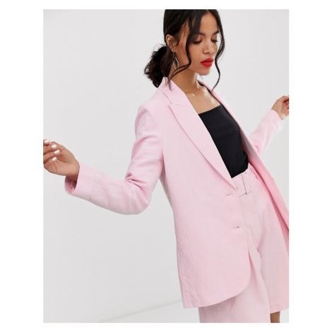 & Other Stories oversized linen blend blazer co-ord in pink