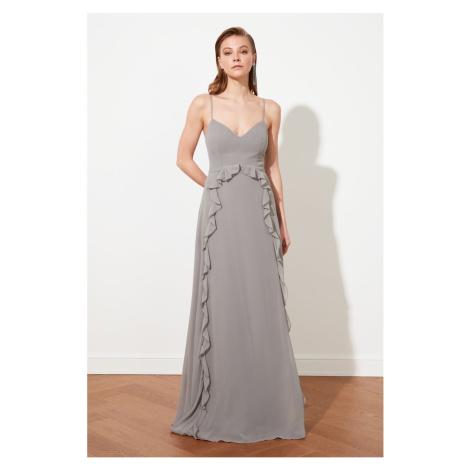 Trendyol Grey Flywheel Chiffon Evening Dress & Graduation Dress