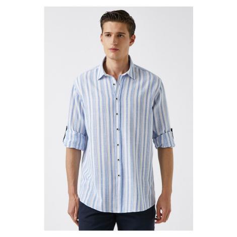 Koton Męska biała koszula w paski