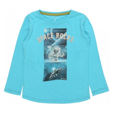 TOM TAILOR Koszulka 'T-shirt placed print' atramentowy / turkusowy