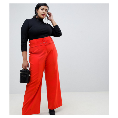 Lost Ink Plus Straight Leg Trousers With Belted Waist
