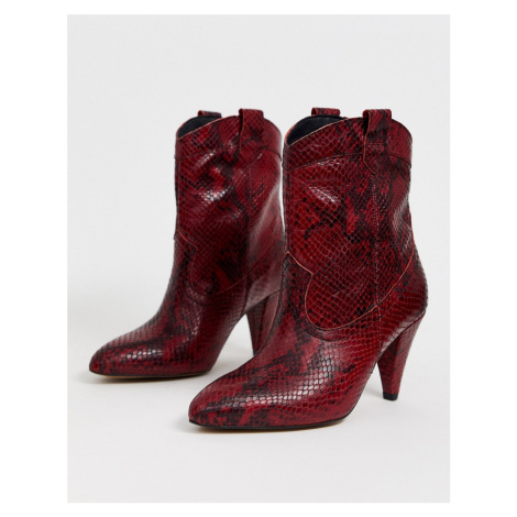 ASOS DESIGN Ranch leather western pull on boots in red snake