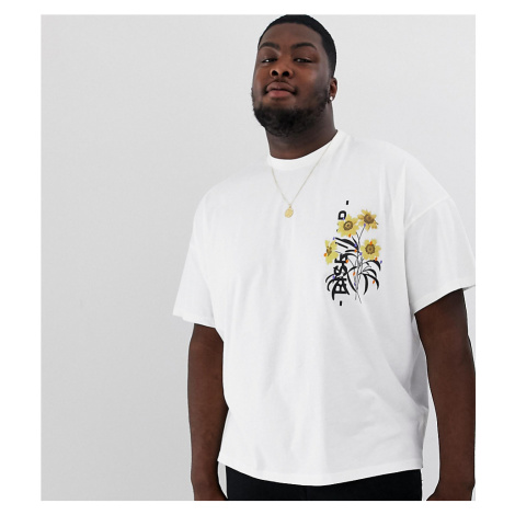 ASOS DESIGN Plus oversized t-shirt with chest print in shine technique