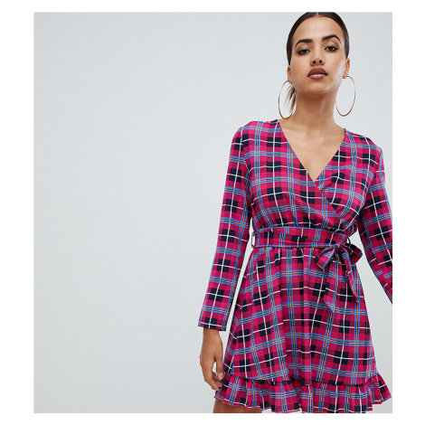 PrettyLittleThing wrap dress in pink check