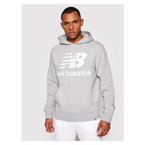 New Balance Bluza Essentials Stacked Logo Po MT03558 Szary Athletic Fit
