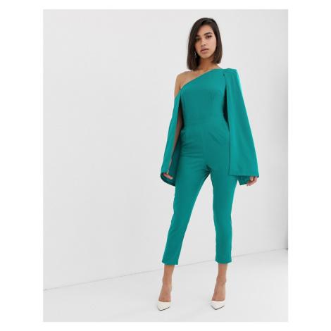 Lavish Alice one shoulder cape tailored jumpsuit in jade green