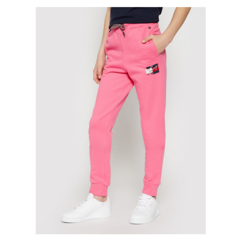 Tommy Hilfiger Spodnie dresowe Flag Print KG0KG05769 D Różowy Regular Fit
