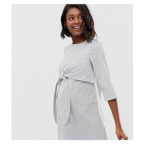 ASOS DESIGN Maternity tie front nursing mini dress in stripe