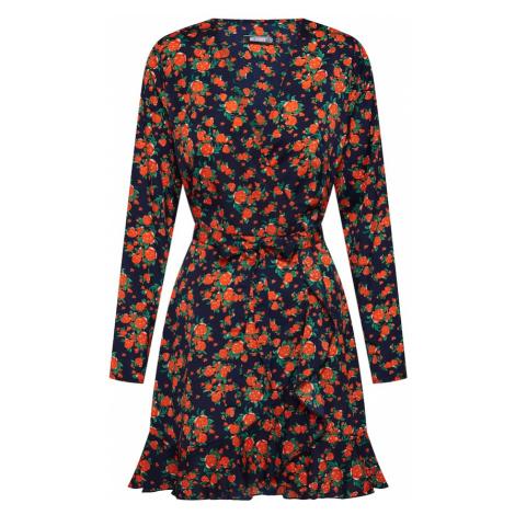 Missguided Sukienka 'RUFFLE TEA DRESS SATIN FLORAL' granatowy