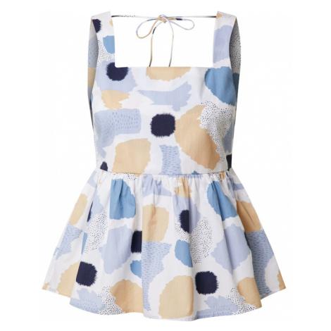 PIECES Top 'Mimi' biały / jasnoniebieski / ciemny niebieski / pastelowy pomarańczowy