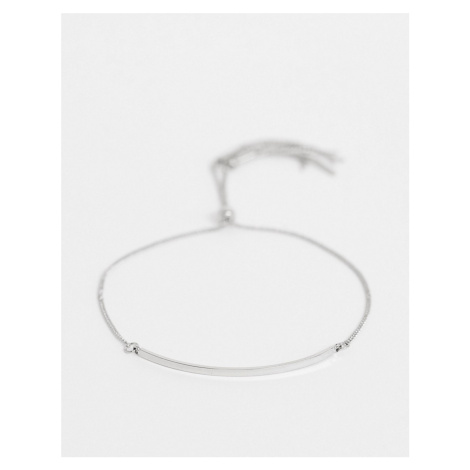 ASOS DESIGN bracelet with toggle chain and metal bar in silver tone