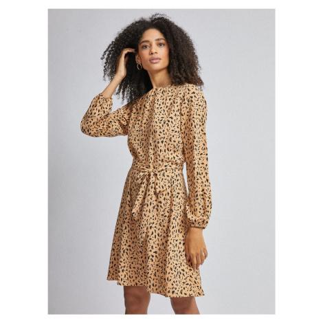 Jasnobrązowa sukienka wzorzysta Dorothy Perkins