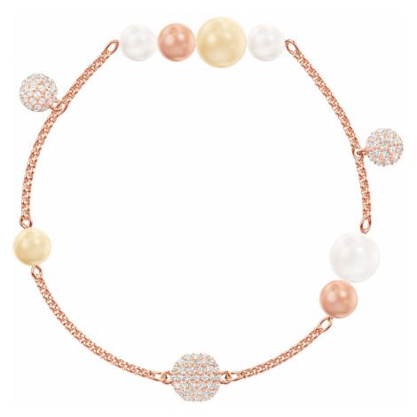 Łańcuszek z kolekcji Swarovski Remix z perłą, wielokolorowy, w odcieniu różowego złota