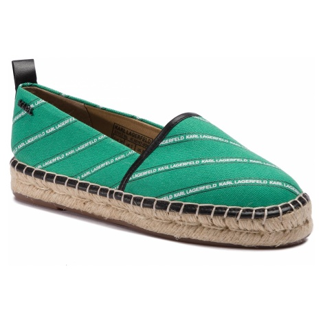Espadryle KARL LAGERFELD - KL80107 Green Canvas W/Black